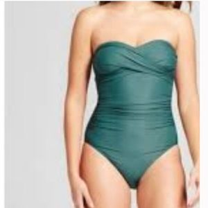 Merona green ruched one piece swimsuit